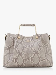Dune Darlow Metal Handle Tote Bag Grey Snakeskin