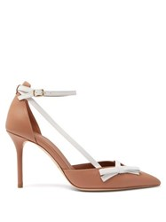 Malone Souliers Josie Bow Embellished Leather Pumps Nude