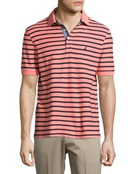 Nautica Short Sleeve Striped Polo Shirt Pale Coral