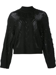 Tanya Taylor Fringed Neck Jumper Black
