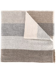 Eleventy Striped Woven Scarf Nude And Neutrals
