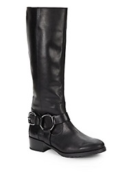 Donald J Pliner Tall Leather Motorcycle Boots Black