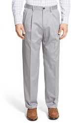 Men's Nordstrom Men's Shop 'Classic' Smartcare Relaxed Fit Double Pleated Cotton Pants Grey Filigree