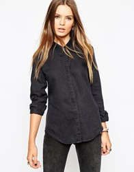 Asos Denim Shirt With Sharp Collar Washedblack