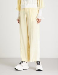Moandco. High Rise Velvet Trousers Wax Yellow