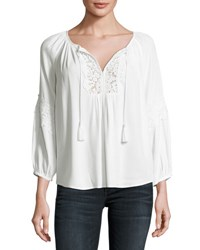 Joie Orval Lace Trim Peasant Top White