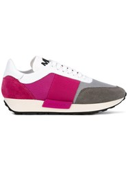 Moncler Lousie Sneakers Women Leather Polyester Calf Suede Rubber 38.5 Pink Purple