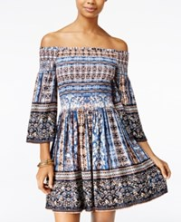 American Rag Printed Off The Shoulder Fit And Flare Dress Only At Macy's Indigo Combo