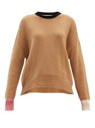Marni Colour Block Cashmere Sweater Brown Multi