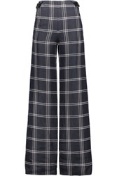Proenza Schouler Leather Trimmed Checked Basketweave Satin Twill Wide Leg Pants Storm Blue