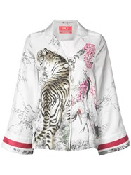 F.R.S For Restless Sleepers Tiger Print Pyjama Blouse White