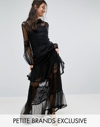 White Cove Petite Lace Crochet Full Prom Maxi Dress With Bell Sleeves Black