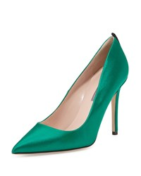 Sarah Jessica Parker Fawn Satin Pointed Toe Pump Emerald Green