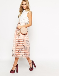 Dahlia Midi Skirt In Floral And Sheer Stripe Organza Palepink