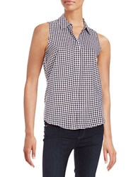 Context Gingham Button Down Blouse Black True White
