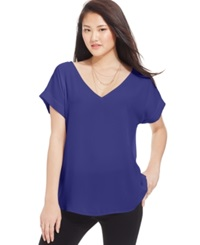 Hippie Rose Juniors' Loose Fit V Neck Tee Monaco Blue