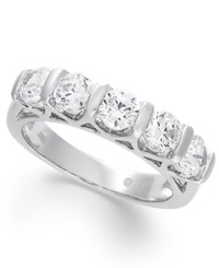 Macy's Certified Five Stone Diamond Band Ring In 14K White Gold 1 1 2 Ct. T.W.