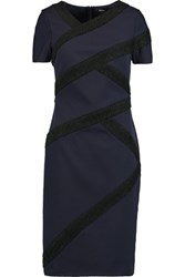 Raoul Wool Blend Boucle Paneled Crepe Dress Navy