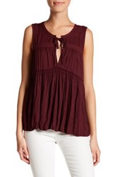 Melrose And Market Sleeveless Floral Tiered Shirt Petite Burgundy Royale