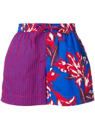 P.A.R.O.S.H. Contrast Panel Shorts Blue
