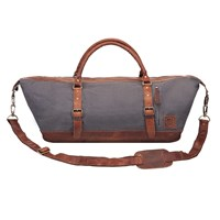 Mahi Leather Long Armada Duffle Large Weekend Overnight Holdall Ball In Grey Canvas