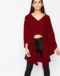 Love V Neck Top With Longline Sleeves Oxblood Red