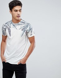 Solid T Shirt With Leaf Print Cream