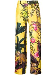 F.R.S For Restless Sleepers Graphic Print Tailored Trousers Yellow