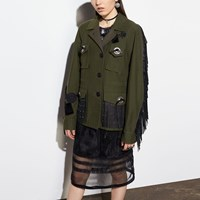 Coach Western Military Jacket With Pockets Fern
