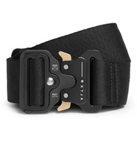 Alyx 4Cm Black Rollercoaster Leather Trimmed Canvas Belt