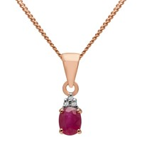 A B Davis 9Ct Gold Precious Stone And Diamond Oval Pendant Necklace Rose Gold Ruby