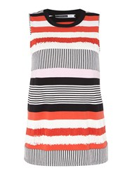 Sportmax Code Agro Sleeveless Striped Frill Top Red