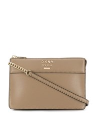 Dkny Logo Plaque Crossbody Bag Neutrals