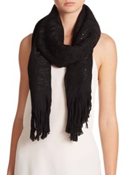 Armani Collezioni Sequined Wool Blend Scarf Black