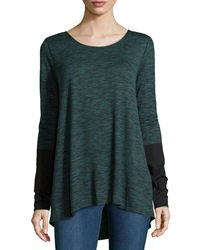 Max Studio Round Neck Pullover W Colorblocked Sleeves Evergreen Black