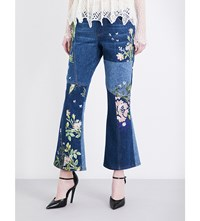 Alexander Mcqueen Embroidered Patchwork Flared Cropped Mid Rise Jeans Light Blue