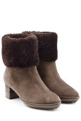 Salvatore Ferragamo Suede Ankle Boots With Sheepskin Brown