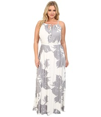 Rachel Pally Plus Plus Size Kiku Dress White Label Print Grey Floral Women's Dress Gray
