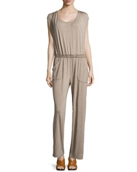 Max Studio Jersey Scoop Neck Jumpsuit Heather Toast