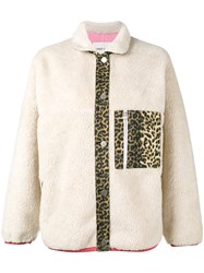 Sandy Liang Checkers Leopard Print Jacket Nude Neutrals