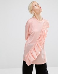 Monki Ruffle T Shirt Blush Pink