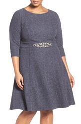 Eliza J Plus Size Women's Embellished Fit And Flare Dress Navy Steel