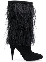 Michael Michael Kors Asha Ostrich Feather Embroidered Boots Black