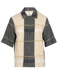Acne Studios Contrast Panel Checked Cotton Blend Shirt Navy