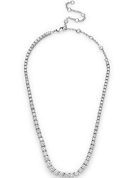 Cz By Kenneth Jay Lane Round Cubic Zirconia Graduated Tennis Necklace Silver