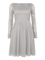 Lace And Beads Long Sleeve Embellished Fit Flare Dress Light Grey