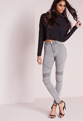 Missguided High Waisted Skinny Biker Jeans Grey Grey