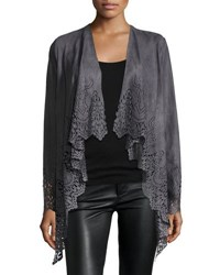 Alberto Makali Laser Cut Faux Suede Fringed Cardigan Charcoal
