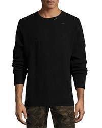 Ovadia And Sons Distressed Ribbed Wool Sweater Black