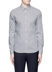 Paul Smith 'Mini Heart' Print Cotton Poplin Shirt Blue